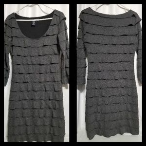 Max Edition Size M Tiered Gray Dress Fully Lined